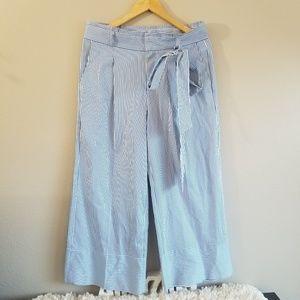 BANANA REPUBLIC Stripe Crop Wide Leg Pants Sz 8